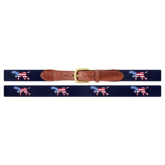 PATRIOTIC DOG ON POINT NEEDLEPOINT BELT - Mens Belt