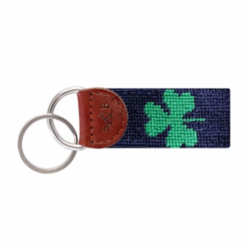 SHAMROCK NEEDLEPOINT KEY FOB - NAVY - The Navy Knot
