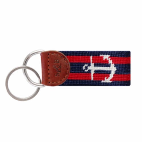 STRIPED ANCHOR NEEDLEPOINT KEY FOB - The Navy Knot