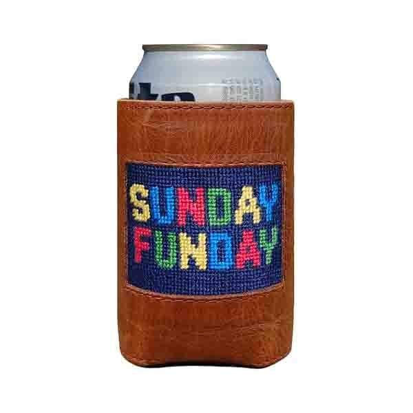 SUNDAY FUNDAY NEEDLEPOINT CAN COOLER - The Navy Knot