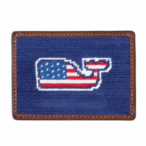 VINEYARD VINES NEEDLEPOINT CARD WALLET - The Navy Knot