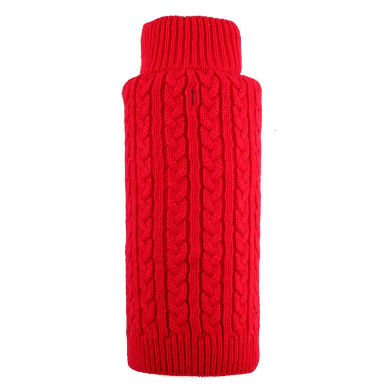 Red Cable Zip Dog Sweater