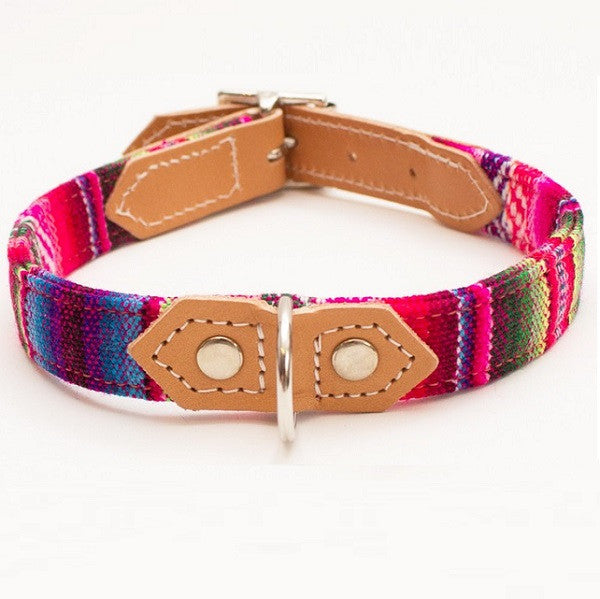 Pink Inca Classic Dog Collar, Designed by Hiro & Wolf