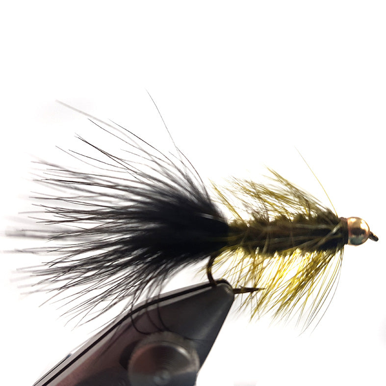 Olive and Black gold bead head wooly bugger Australia