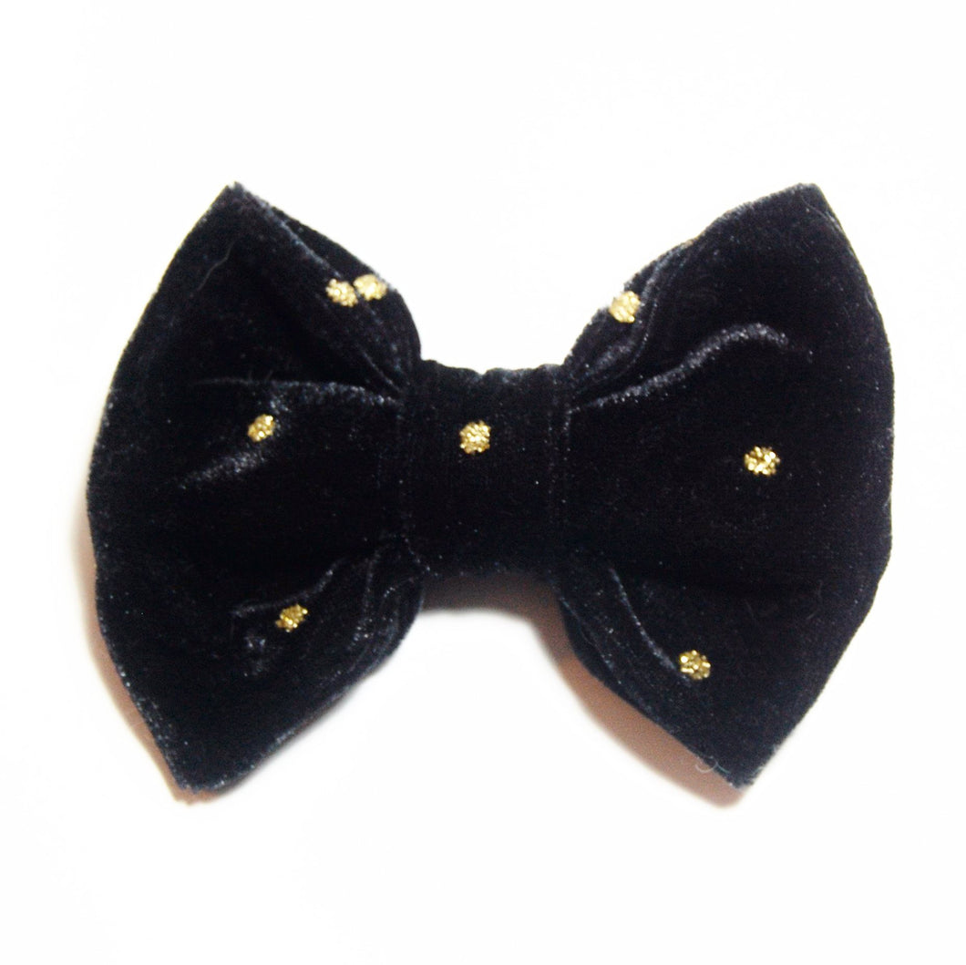 Black Velvet with Gold Glitter Dots Bow Tie