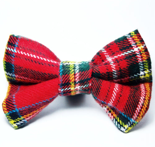 Festive Plaid Flannel Bow Tie