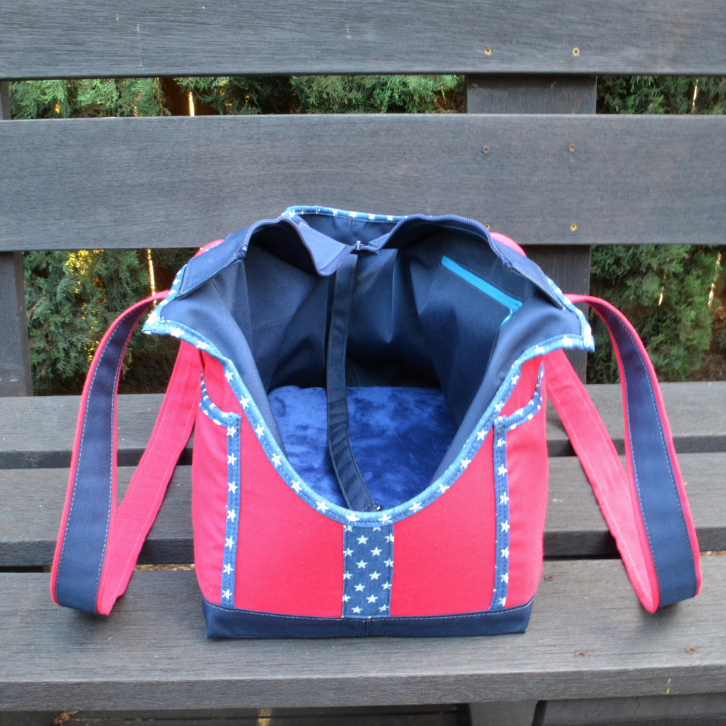 Hot Pink/Navy Blue/Denim & Stars Wally Tote