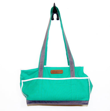 Green/Grey/Pink & White Stripes Wally Tote