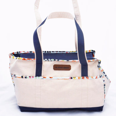 Natural/Navy Blue/Sushi Wally Tote - Best Seller!