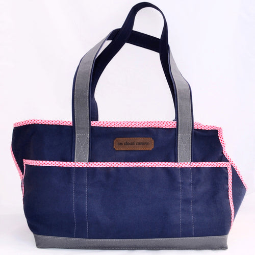 Navy Blue/Grey/Hearts Wally Tote