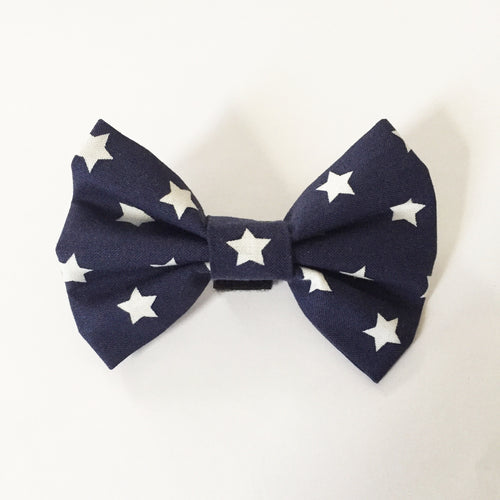 Navy Blue and White Stars Bow Tie