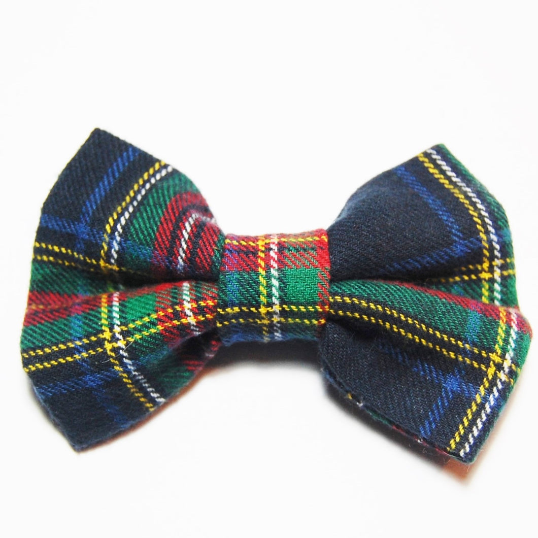 Navy Plaid Flannel Bow Tie