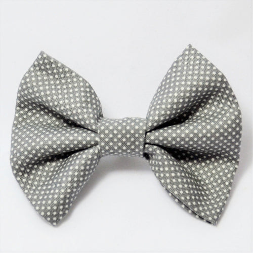 Grey and White Polka Dots Bow Tie