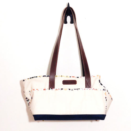Premium Natural/Navy Blue/Sushi Tote with Leather Straps
