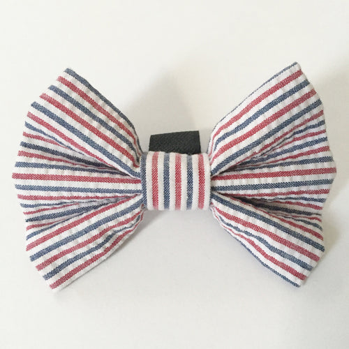 Red, White & Blue Seersucker Bow Tie