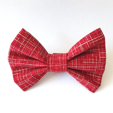 NEW! Red & Silver Metallic Plaid Bow Tie