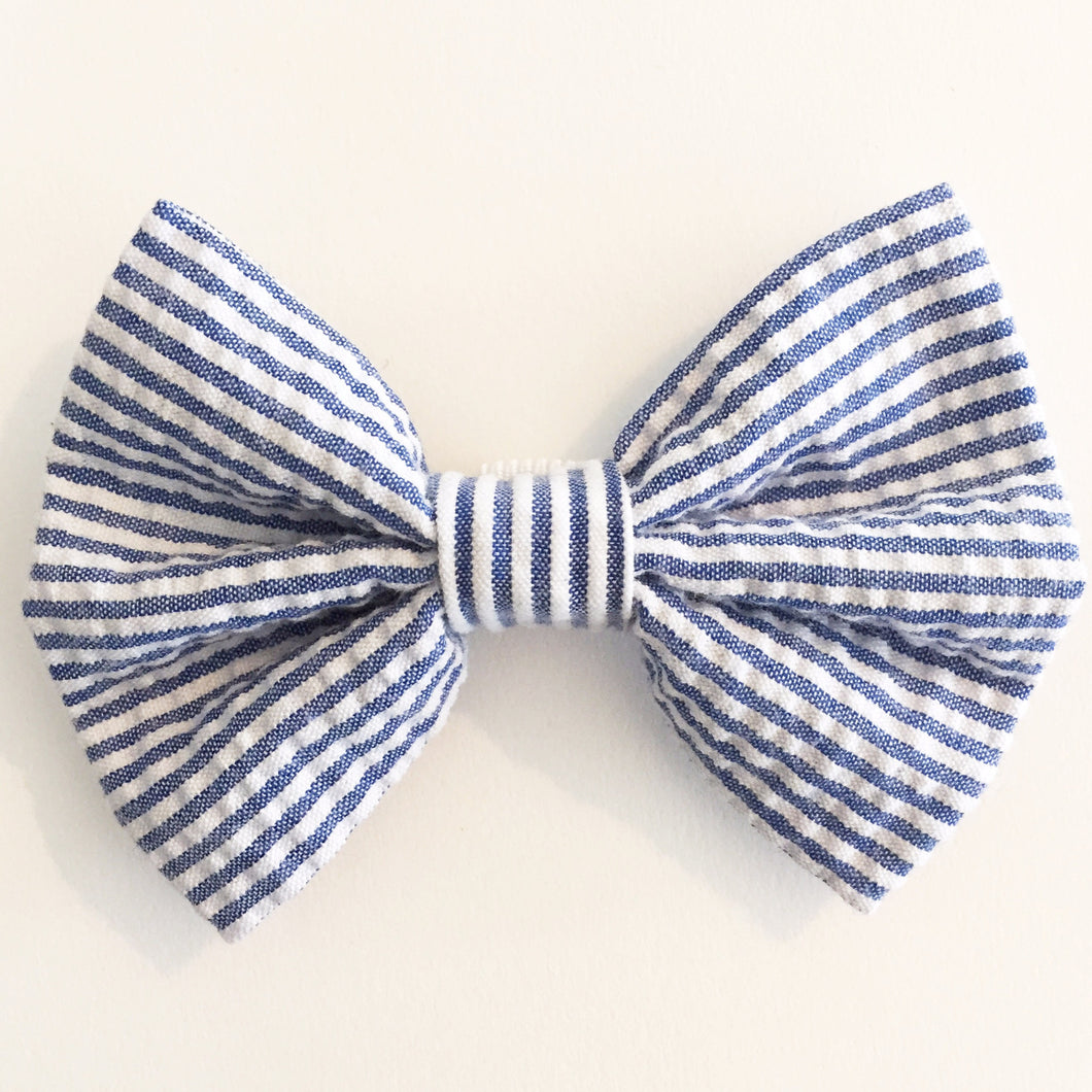 Blue & White Seersucker Bow Tie