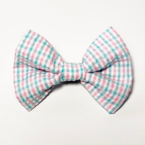 Pink and Green Gingham Check Bow Tie