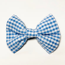 Light Blue Gingham Check Bow Tie
