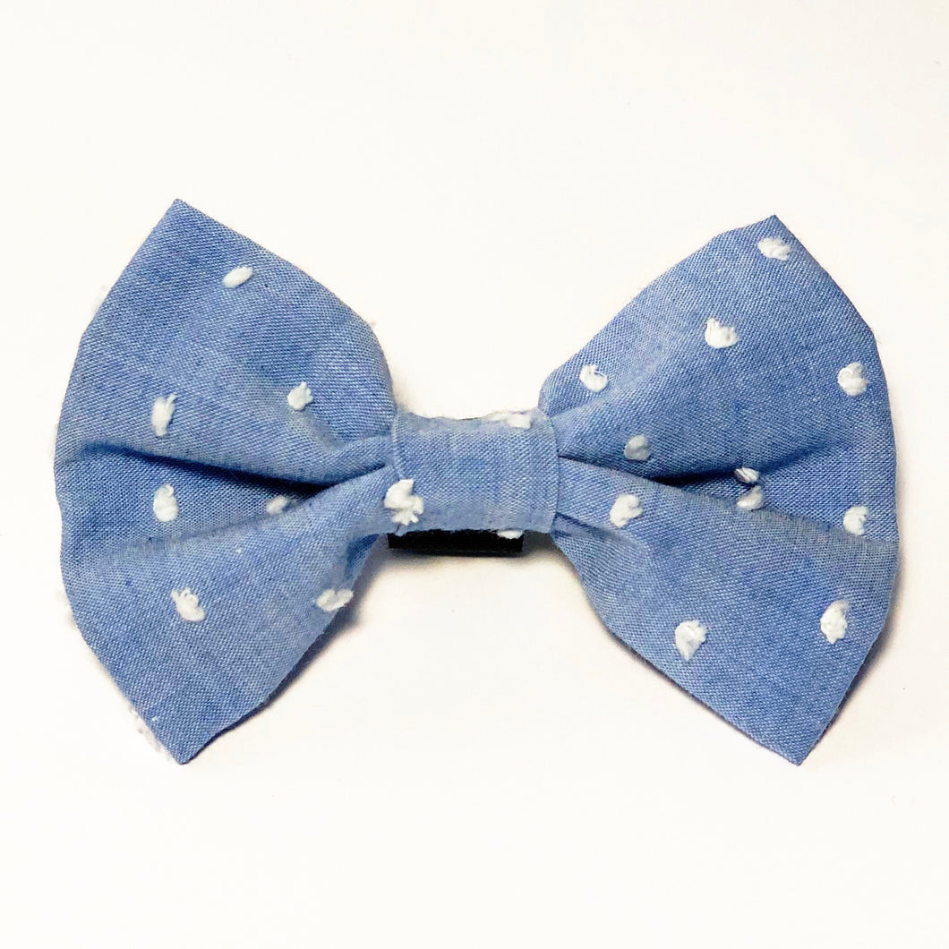 Blue and White Confetti Dots Bow Tie