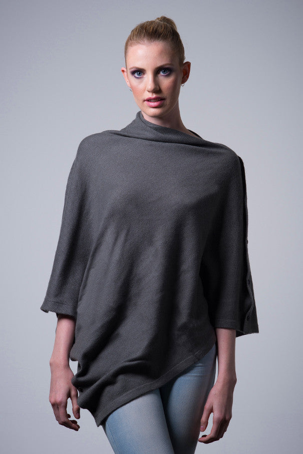 Cashmere-button-poncho-steel-grey