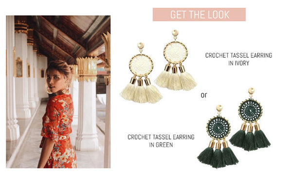 Crochet Tassel Statement Earring