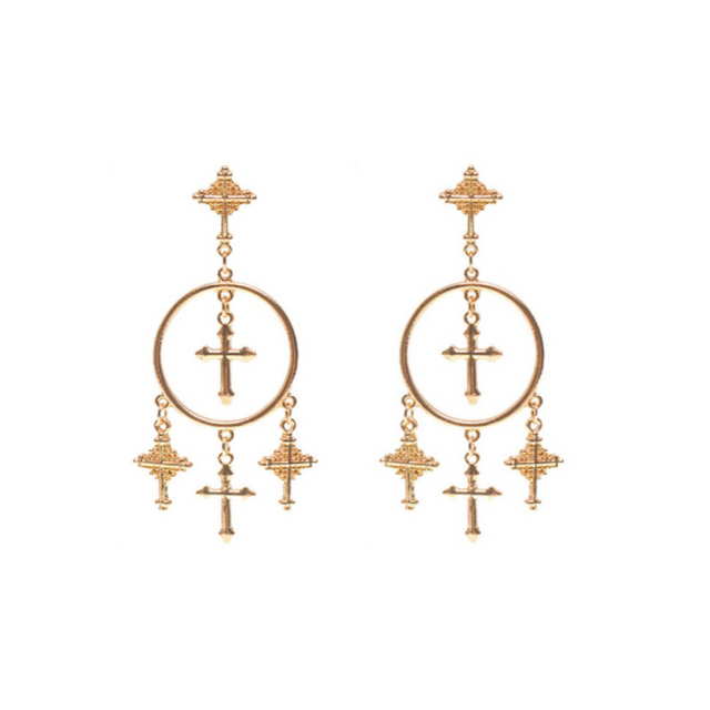 Cross Pendant Hoops