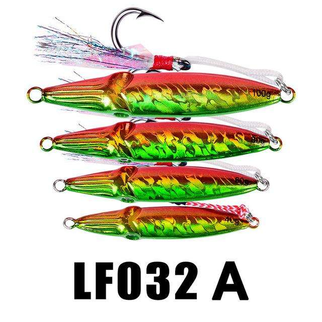 Fishing Trends Online Tackle Shop:1PC Hard Lead Fish 40g-60g-80g Fishing Lure 5 Colors Fishing Bait 8cm-9cm-10cm Casting Lure Deep Sea Jig Fishing Tackle,Color A within Hook / 100g-3.5oz