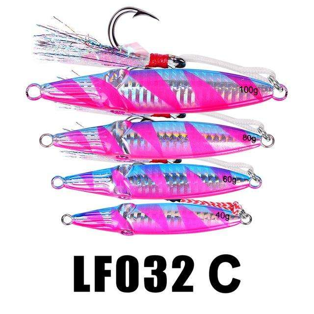 Fishing Trends Online Tackle Shop:1PC Hard Lead Fish 40g-60g-80g Fishing Lure 5 Colors Fishing Bait 8cm-9cm-10cm Casting Lure Deep Sea Jig Fishing Tackle,Color C within Hook / 100g-3.5oz