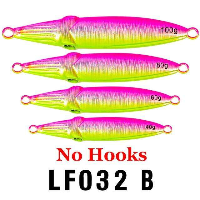 Fishing Trends Online Tackle Shop:1PC Hard Lead Fish 40g-60g-80g Fishing Lure 5 Colors Fishing Bait 8cm-9cm-10cm Casting Lure Deep Sea Jig Fishing Tackle,Color B No Hook / 100g-3.5oz