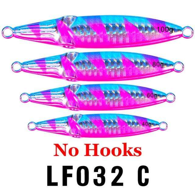 Fishing Trends Online Tackle Shop:1PC Hard Lead Fish 40g-60g-80g Fishing Lure 5 Colors Fishing Bait 8cm-9cm-10cm Casting Lure Deep Sea Jig Fishing Tackle,Color C No Hook / 100g-3.5oz