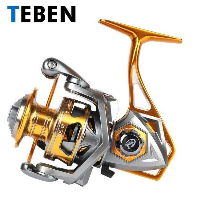 Fishing Trends Online Tackle Shop:2018 Teben Original Saltwater Metal Body  Fishing Spinning Sea Reel 5.2:1 Gear Ratio10BB 15-20KG Max Drag EVA Handle Reel Crap,Red / 3000 Series