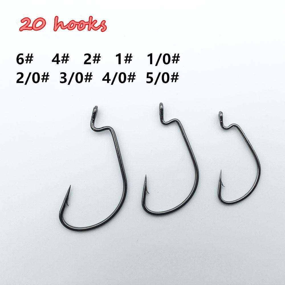 Hooks 20Pcs Wide Gap Worm Hook Black Jig Fishing For Soft Bait Size 1/0-5/0