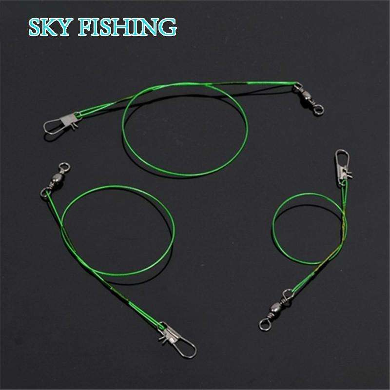 Trace 20Pcs Green Stainless Steel Fishing Line Leader 15/20/24Cm