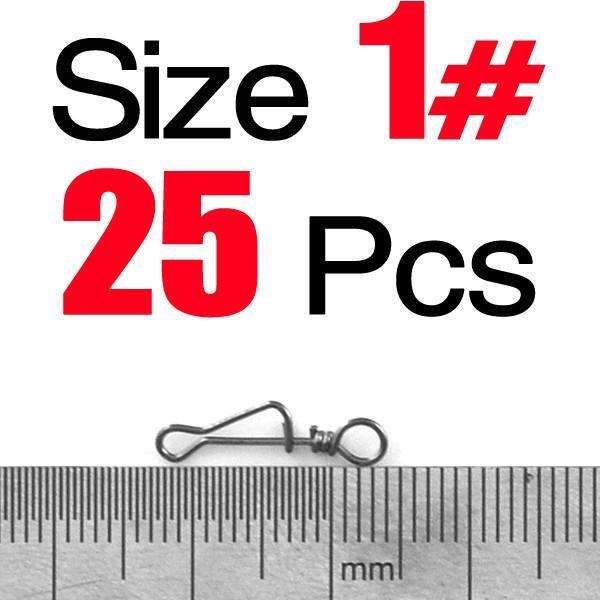 Snaps 25 Pcs Fishing Connector Snap Size 0 1 2 3 4 5 6# Swivel