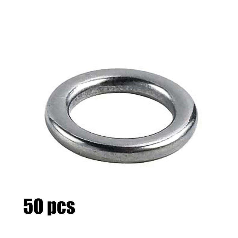 Solid Ring 50Pcs Heavy-Duty S/steel Jigging Rings Fishing Accessory Hook