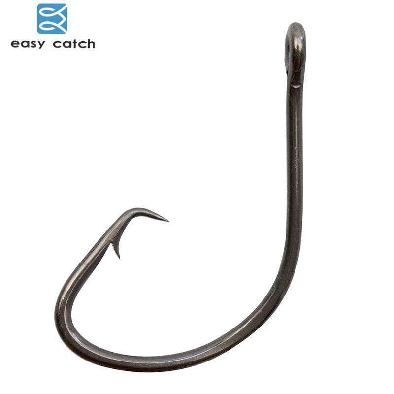 Hooks Circle Fishing 50Pcs Black Offset 1 To 10/0 Hook