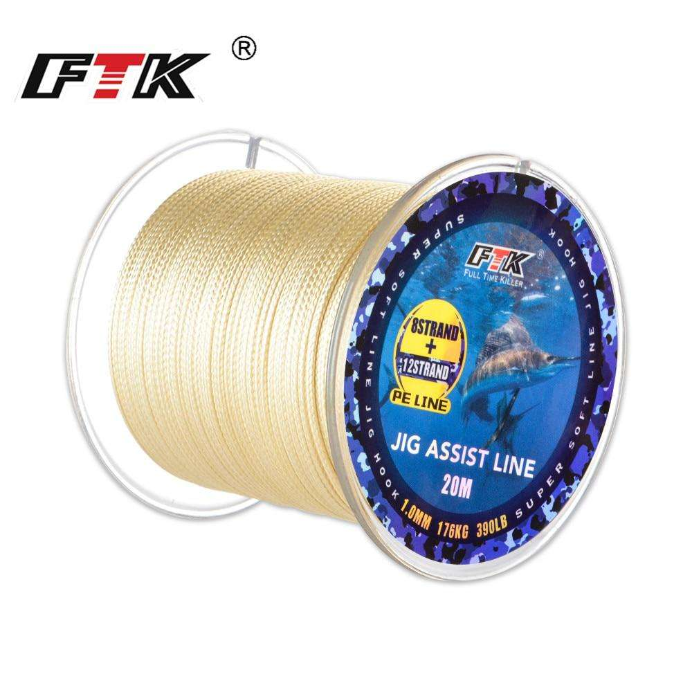 Fishing Trends Online Tackle Shop:FTK 20M 12+8 Strands PE Braided Fishing Line 210LB/300LB/390LB Super Soft Line Jig Assist Hook Multifilament Line Fish Line Wire