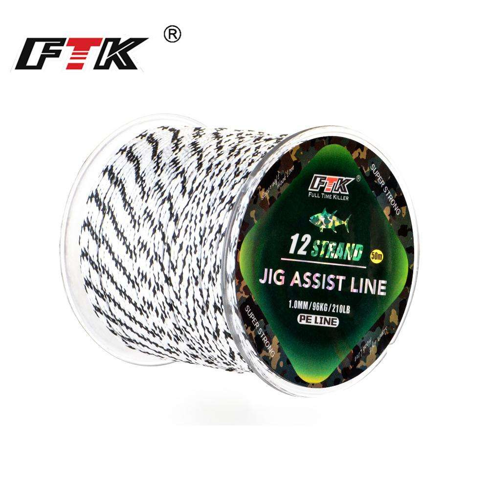 Fishing Trends Online Tackle Shop:FTK 50M 12 Strands PE Braided Wire 70LB-210LB Excellent Spear Gun Line Super Strong Multifilament Jig Fishing Line Rope Cord
