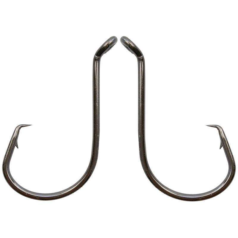 Hooks 100Pcs Carbon Steel Black Offset Circle Hook 1 - 8/0