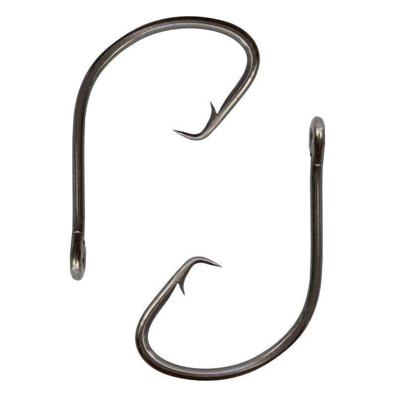 Hooks 100Pcs Carbon Steel Black Wide Gap Offset Circle Fishing Hook 1 - 5/0