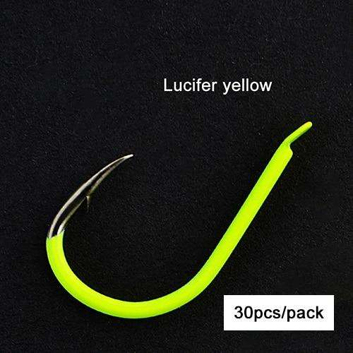 Fishing Trends Online Tackle Shop:Hooks ISEAMA 30-50pcs Barbed Luminous Hook 4-13# Black Nickel Yellow Blue Red Single Hook Japan,yellow-30pcs / 10