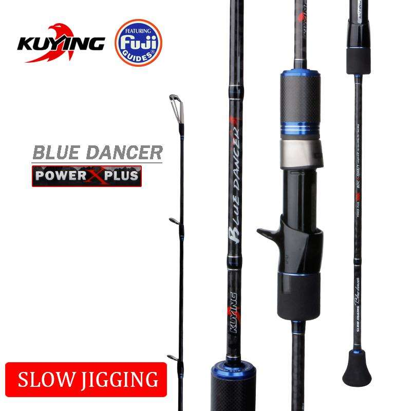 Fishing Trends Online Tackle Shop:KUYING BLUEDANCER 2.04m Casting Slow Jigging Rod Fishing Lure Cane Rods Carbon FUJI Rotate Helical Ring 1 Section 150-400g Lures