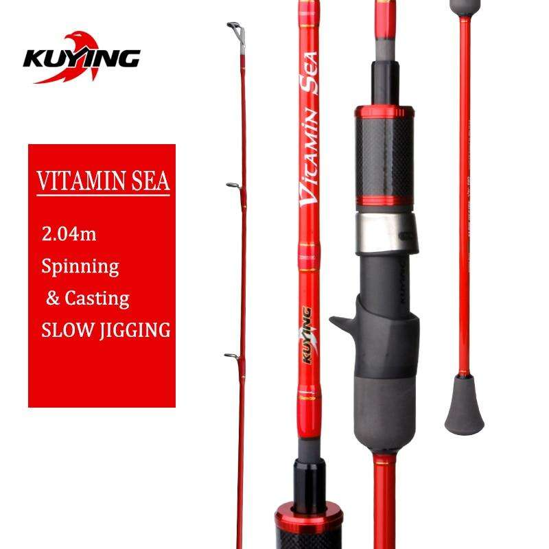 "Fishing Trends Online Tackle Shop:KUYING VITAMIN SEA 1 Section 2.04m 6'8"" Carbon Spinning Casting Lure Slow Jigging Fishing Rod Stick Cane FUJI Helical Rings"