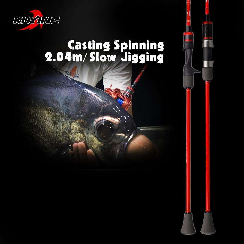 "Fishing Trends Online Tackle Shop:KUYING VITAMIN SEA 1 Section 2.04m 6'8"" Slow Jigging Carbon Spinning Casting Lure Fishing Rod Stick Cane FUJI Pole Helical Rings"