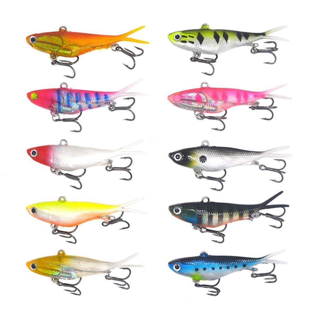 Fishing Trends Online Tackle Shop:lure soft vibe 10 pieces Mixed color Bulk 95mm 20g