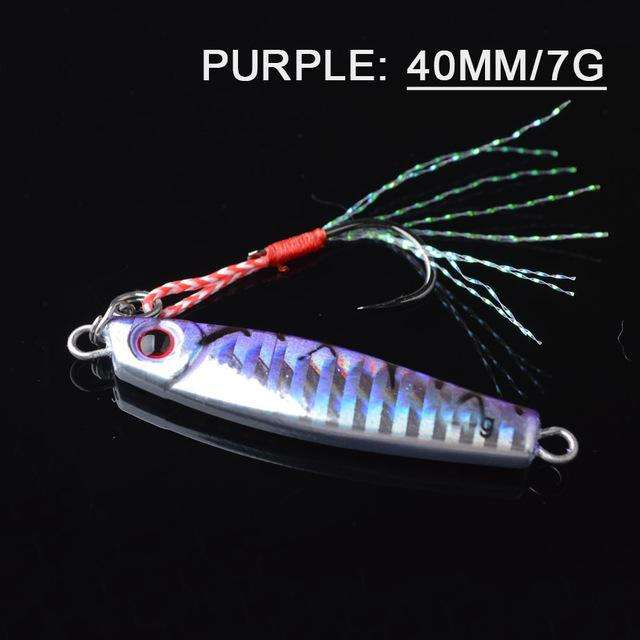 Fishing Trends Online Tackle Shop:Lure TOMA 1PCS/lot Mini Jig Slow Pitch 7g 14g 28g 40g,purple 40mm 7g