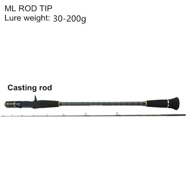 Fishing Trends Online Tackle Shop:Mavllos 1.95m ML/M Tip Slow Jigging Rod Lure Weight 30-200g/80-300g  2 Section Ultralight Saltwater Fishing Casting Spinning Rod,Black / 1.95 m