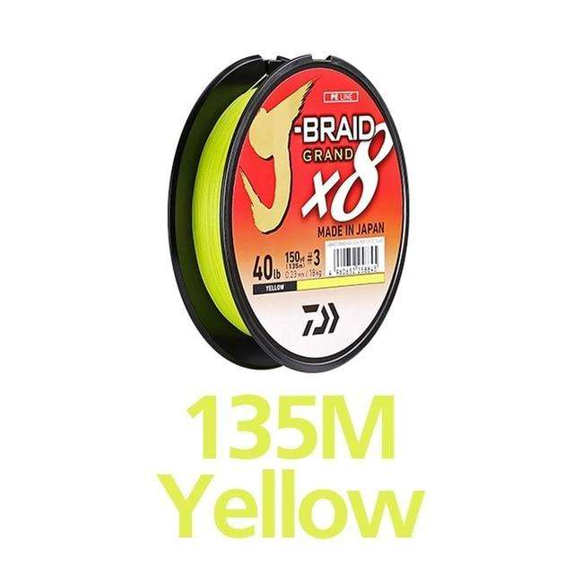 Fishing Trends Online Tackle Shop:Newest Original DAIWA J-BRAID GRAND Fishing Line 135M 150M  300M 8 Strands Braided PE Line Fishing TackleMade in Japan,135M  YELLOW / 0.6-0.06mm-10LB