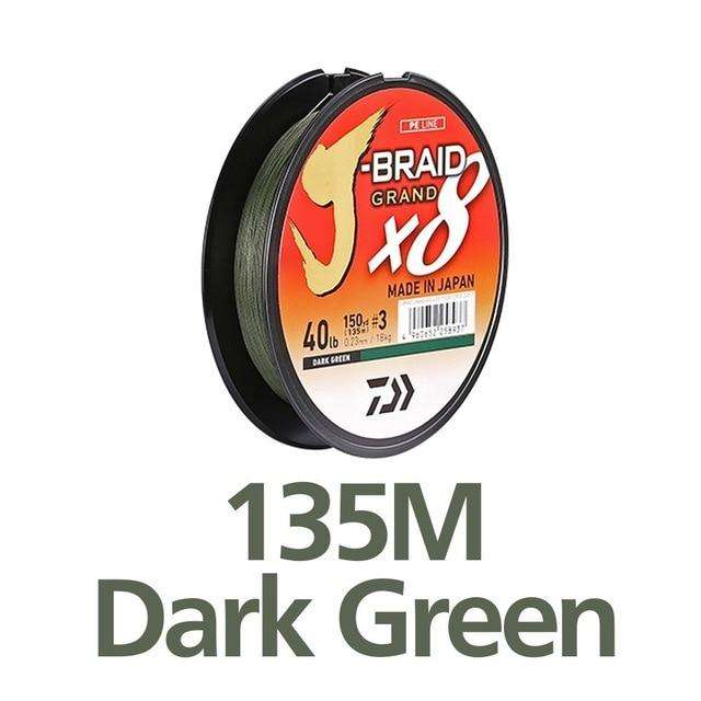 Fishing Trends Online Tackle Shop:Newest Original DAIWA J-BRAID GRAND Fishing Line 135M 150M  300M 8 Strands Braided PE Line Fishing TackleMade in Japan,135M DARK GREEN / 0.6-0.06mm-10LB
